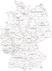 Wall Mural - Deutschland Bundesländer Landkreise