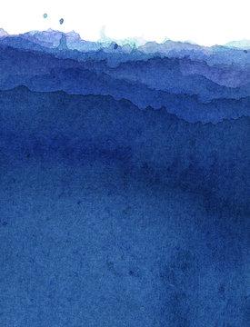 水彩による青の抽象画
