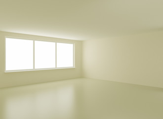 Clean new interior, with clipping path for windows, 3d