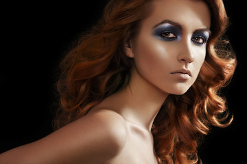 Fashion woman model with glitter evening make-up, long hair