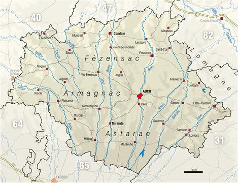 Carte du département du Gers