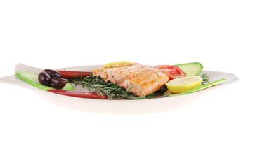 roast salmon fish with tomatoes