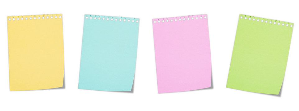 Pagine blocco notes colorate