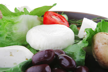mozzarella with olives and bread