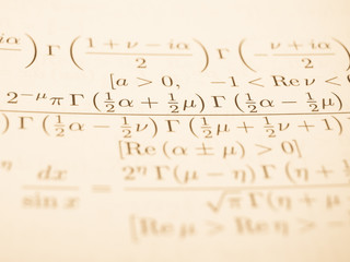 Advanced mathematical formulas in a book
