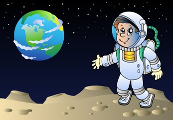 Moonscape with cartoon astronaut
