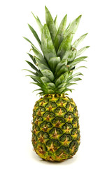 ripe pineapple fruit over a white background
