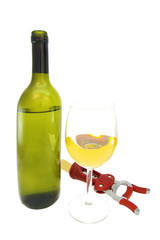 vine bottle opener and glass