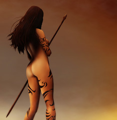 painting of a tattooed ancient Pagan Woman hunter
