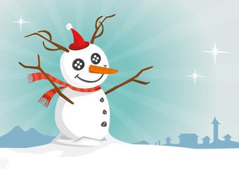 Bonhomme de neige rennes, vecteur