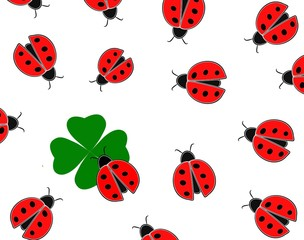 Red ladybugs and green shamrock