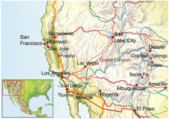 Landkarte vom Suedwesten Amerikas USA