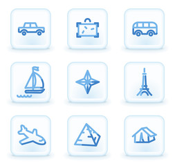 Travel web icons set 2, square ice buttons