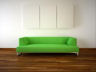 modern room green sofa