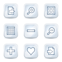 Image viewer web icons set 1, white glossy buttons