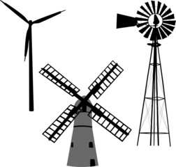 silhouette of windmill - vector