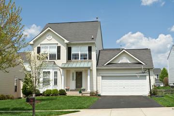 Front View Single Family Small House Suburban Maryland USA
