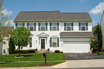 Vinyl Siding Single Family House Suburban Maryland, USA