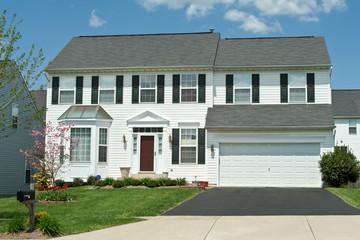 Front Vinyl Siding Single Family House Home, Suburban Maryland