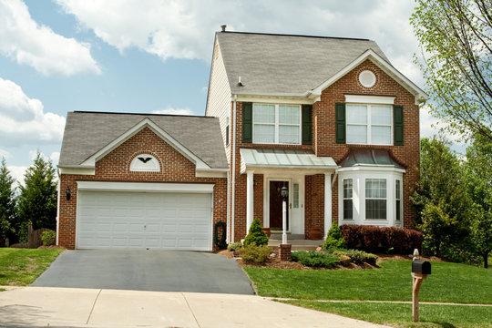 Front View Brick Single Family House Home Suburban Maryland, USA