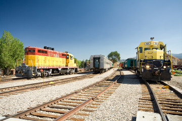 Locomotives Parked Train Siding Yard Santa Fe, NM, USA