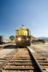 Straight On Diesel Locomotive Tracks Santa Fe, New Mexico, USA