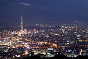 Night scenes of the Taipei city with light bule sky