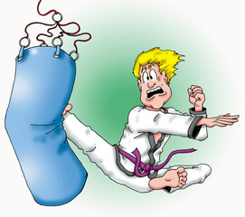 Karate Man working out on a heavy bag