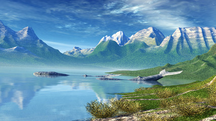 Flusslandschaft mit Walen