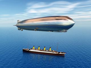 Zeppelin und Ozeandampfer