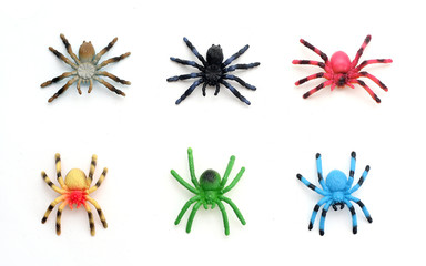 Collection of Colorful Plastic Toy Spiders