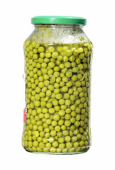 jar with green peas isolated over white
