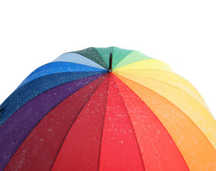 Colourful umbrella with snowflakes isolated on the white