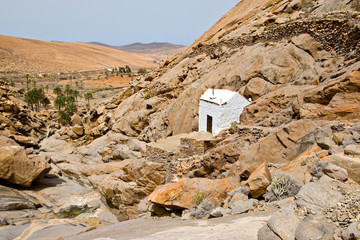 White chapel in Fuerteventura, Canary Islands, Spain