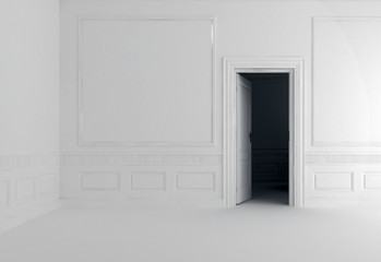 white wall with door