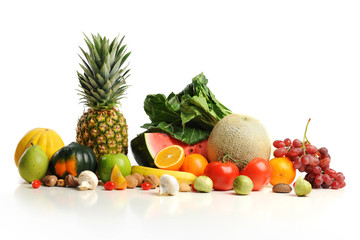 Colorful fruits arranged in a group