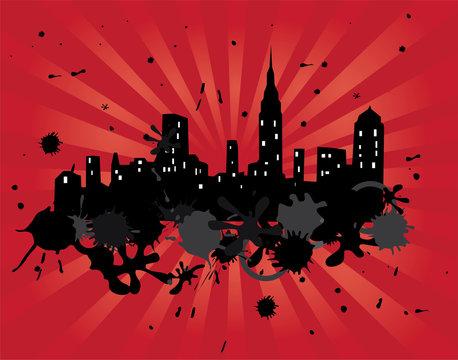 grunge city with red lightburst