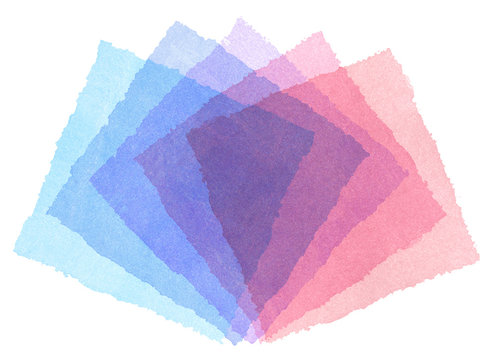 水彩による幾何抽象画