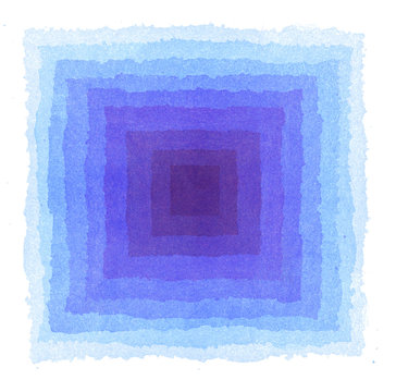 水彩による青い幾何抽象画
