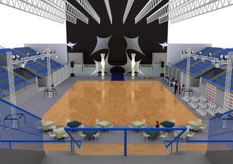 danza sportiva stand fiera rendering 3d