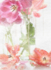 Digitally rendered painting of spring tulips