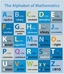 The Alphabet of Mathematics (maths x theme topic illustration)