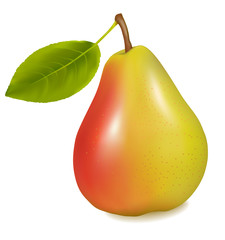 Ripe yellow pear with green leaf. Vector illustration