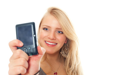 girl taking a photo of herself with a digital camera