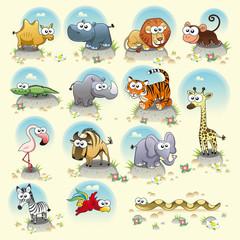 Savannah animals. Vector isolated characters.