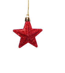 a single red hanging christmas star isolated over white