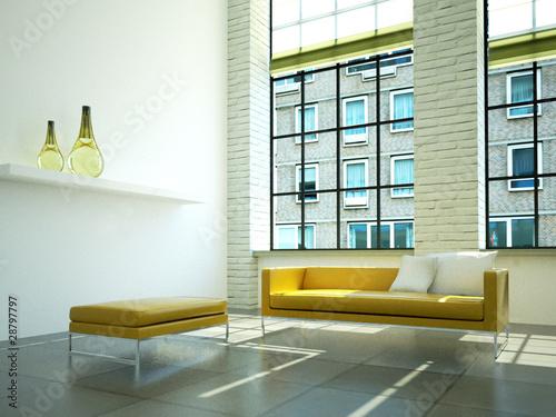 3d loft rendering sofa leder gelb stockfotos und lizenzfreie bilder auf bild. Black Bedroom Furniture Sets. Home Design Ideas