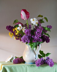 still life with tulips and lilac