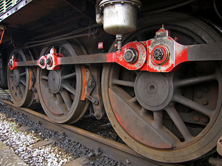 Close-up of wheels of a steam locomotive