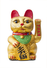 The Lucky Cat - Maneki Neko holding a Koban coin